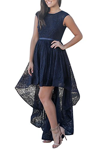 Womens Sexy Black Long Sleeve Lace High Low Satin Prom Dress Cocktail Evening Party Party Gowns