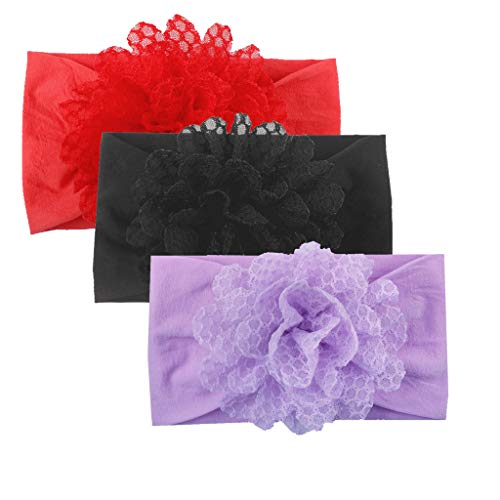 NUWFOR Girls Baby Toddler Princess Floral Headband Hair Band 3PC Accessories Headwear(A,Free Size)