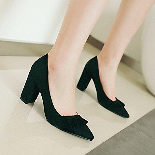 Mujer Con 34 Punta Volantes Comodidad Gran De 43 Tacones Bombas Gamuza Black Moda Tamaño Corte Zapatos AwqAR4