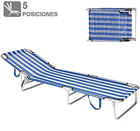Solmar Tumbona Hamaca Silla Plegable Playa Piscina Camping Reposa Cabeza 5 Posiciones Azul Rayas