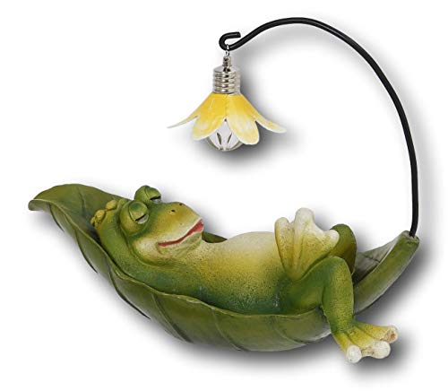 9.5'' Battery Operated LIGHTED Sweet Garden Patio Porch Frog Resin (Frog Sleeping on Leaf) by Gerson