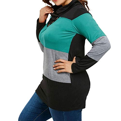 Tonsee Col Haut Femme Taille Automne Chemisier Manches Longues Chemises Grande Irrgulier Hiver Vert Ray Bouton 7rSx7H