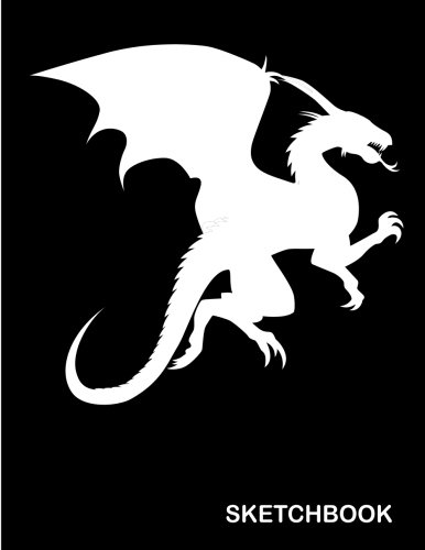 Sketchbook: Dragon silhouette  : 110 Pages of 8.5