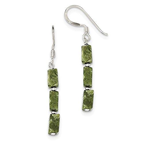 14k Serpentine Earrings - 925 Sterling Silver Green Russian Serpentine Stone Earrings (42mm x 4mm)