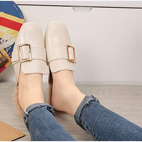 Casual Beige Sandales Ressort Fourrure Carrée Chaud Boucle Mesdames Femme Mocassins Toe En Plat Mulets Chaussures Fausse Femmes U6wTqR14R