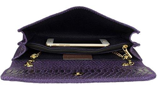 Bolso Handbags Italiana Oscuro Girly Serpiente Estampado Morado Piel Con De Mano 5UxF1dZq
