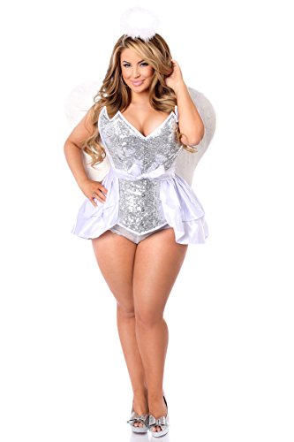 Daisy Corsets Women's Top Drawer 4 Pc Sequin Innocent Angel Corset Costume, Silver, Xlarge