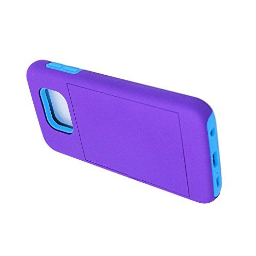 Caja de telefono - SODIAL(R)Caja protectora de telefono dura contra choques con carpeta de tarjeta de credito para Samsung Galaxy S6 violado y azul