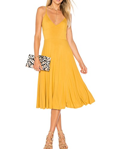 May&Maya Women's Adjustable Shoulder Straps V-neck and Deep V Back Midi Tank Dress (Yellow, M)