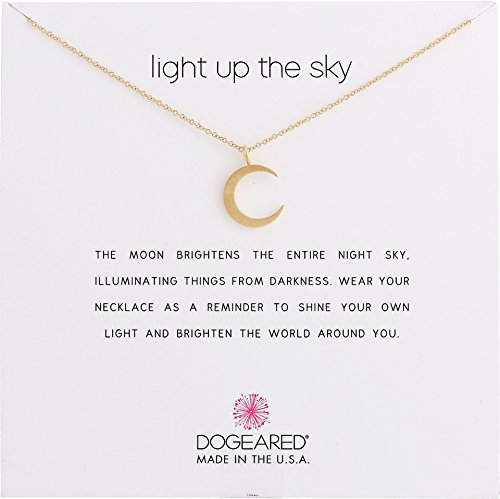 Wish Necklace Make Dogeared A (Dogeared Women's Light Up The Sky Thin Crescent Moon Necklace Gold Dipped One Size)