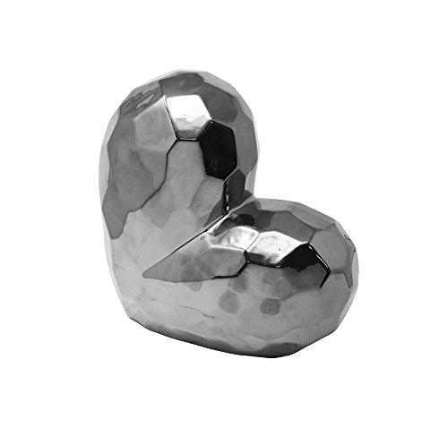 Heart Statue (Glazed Ceramic Heart Shaped Sculpture, Silver)
