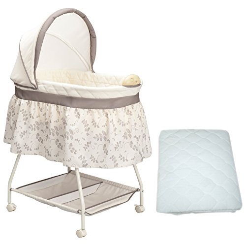 Delta Calming Infant & Newborn Baby Cradle Bassinet with Removable Canopy, Calming Nightlight & Soothing Music For Baby - Includes BONUS Waterproof Mattress Pad Cover (Delta Children Sweet Beginnings)