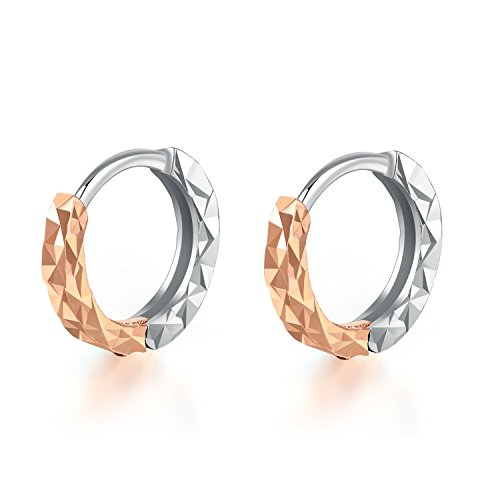 Gold Hoop 14k Band Wedding (MaBelle 14K Rose and White Gold Diamond-Cut Endless Hoop Earrings)