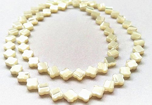 6-20mm Natural Mother of Pearl Shell, White Four Leaf Clover Scallop Beads Necklace Jewelry Beads Strand 16 inch, Shell Supplier Finding (8mm, White) ()