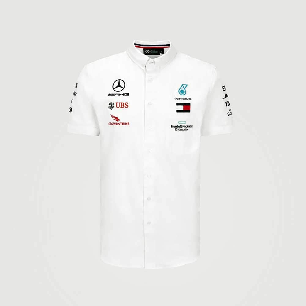 Official Formula one Blanc Polo /écurie Mercedes-AMG Petronas Saison 2020 XXL