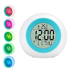 Kids Music Alarm Clock,Wake Up Light Clock Premium Digital Display Model 7 Nature Sounds Children Bedside Night Light Clock Color Changing with Temperature and Calendar for Girls Boys Birthday Gifts