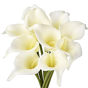 ATPWONZ 10pcs Calla Lily Artificial Flowers Wedding Bridal Bouquet Latex Real Touch Home Party Decoration (Pale Yellow) 12