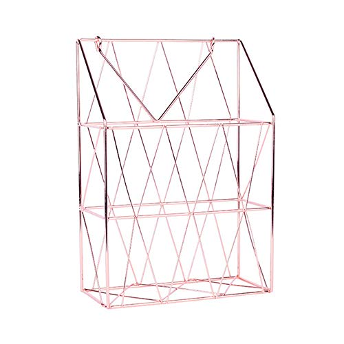 250ml Net (Dreamyth- Wall Hanging Storage Basket Net Iron Storage Holder Magazine Newspaper Organizer 32.5x22.5x10cm (Rose Gold))
