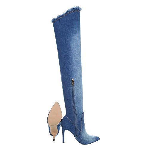 Hd8806 design Bottines Ital Cuissardes Bleu Aiguille Femme Et Bottes Chaussures HqRxpwzB