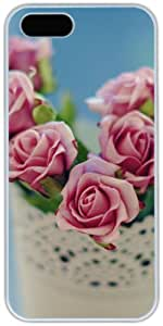 Beautiful Pink Roses In White Vintage Vase Apple iPhone 5 5S Case, iPhone 5 5S Cases Hard Shell Cover Skin Cases