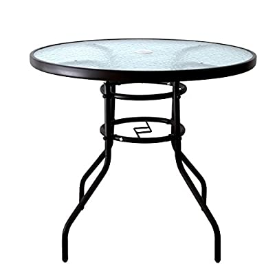 """AOODA 31.5"""" Patio Table Dining Table Umbrella Stand Table with Tempered Glass Top Patio Bistro Table Yard Deck Outdoor Furniture Garden Table for Backyard, Balcony, Pool"""