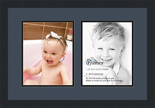 ArtToFrames Collage Photo Frame Double Mat with 2-8x10 Openings and Satin Black ()