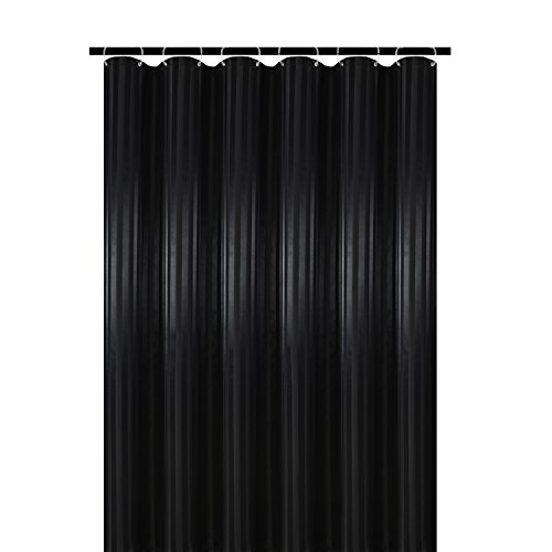 Biscaynebay Fabric Shower Curtain or Liner,Luxurious Two Tones Damask Stripes Water Resistant Bathroom Curtain Set, 72 by 72 Inch, Striped Black