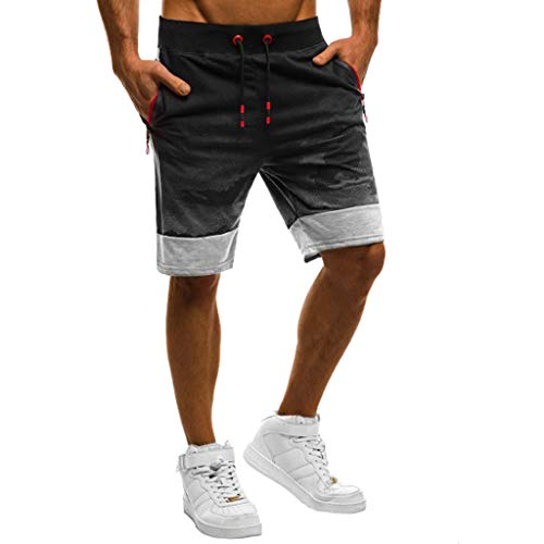 Iuhan  Men's Beach Pants Mens Fitness Camouflage Patchwork Bodybuilding Pocket Skin Short Sports Pants Hawaii Surfing Pants ()