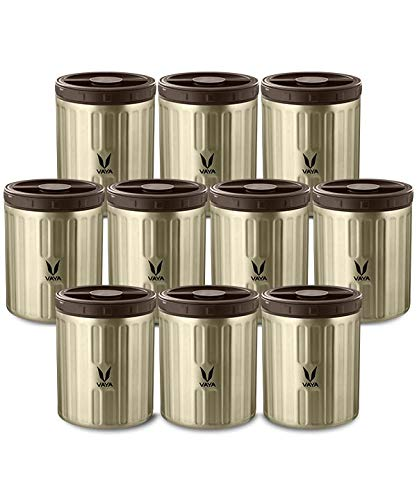 Vaya Preserve 10 X 500 Ml Vacuum Insulated Stainless Steel Kitchen Storage Containers Kitchen Canisters Graphite Color Set Of 10 Containers