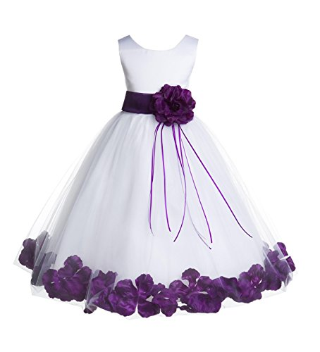 ekidsbridal Rose Petals White Flower Girl Dresses Pageant Dress Baptism Dress 007ss 4