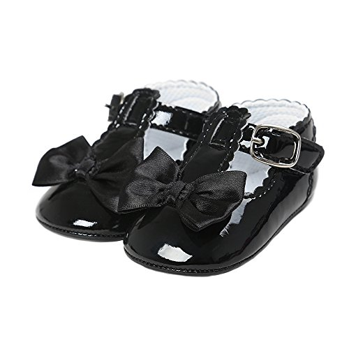 Baby Girl Elegant Patent-Leather Buckle T-Strap Church Shoes with Bowknot Black Size M