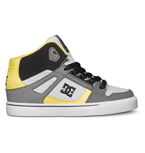 DC Spartan High Skate Shoe (Little Kid/Big Kid),Grey/Black/Yellow,4 M US Big Kid