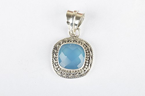 - Faceted Blue Chalcedony Gemstone Pendant, 925 Sterling Silver, AA+ Higher Quality, Chalcedony To Signify Unconditional Love, Peace, Compassion, Extraordinary Jewelry, Christmas Gift Jewelry, Gift