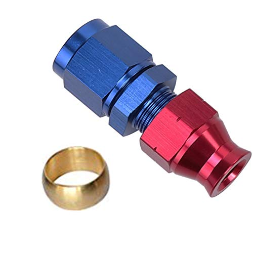 Aluminum Fuel Hardline Fitting - Straight Female Swivel to Fuel Tube Connector -6AN Female to 5/16 Hard Fuel Tubing Red Blue Anodized