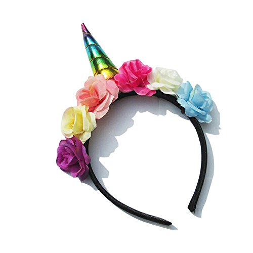 Aiernuo Shiny Unicorn Horn Multicolor Flower Headband Cosplay Costume Halloween Decorations (The Office Us Halloween Costumes)
