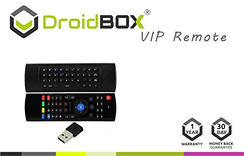 DroidBOX VIP V1 3-in-1 Remote Wireless 2.4Ghz Air-Mouse with QWERTY Keyboard for Android TV BOX, T8, TX2, TX3, Raspberry Pi, Minix, Fire TV, NVIDIA Shield