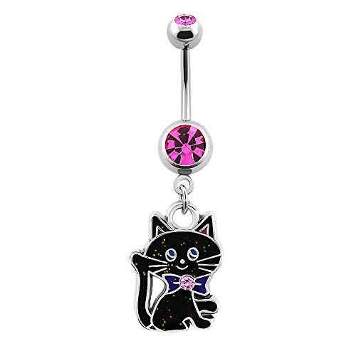 - Pierced Owl Black Cat with Crystal Ribbon Dangling Belly Button Navel Ring in G23 Titanium (Pink)