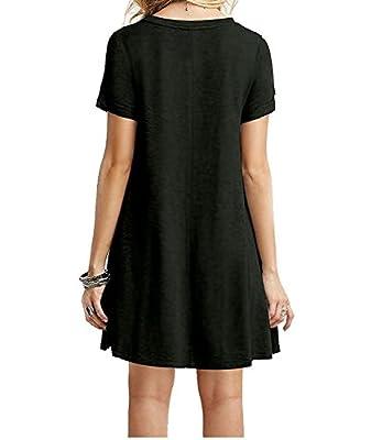AOMI Women's Casual Plain Simple T-Shirt Short Sleeve Loose Dress