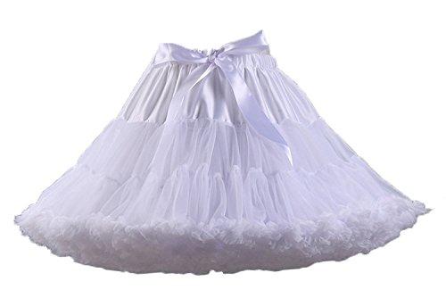 Facent Mujer Adultos Cortas Tutu Falda Tul Enaguas para Disfraz Halloween Blanco
