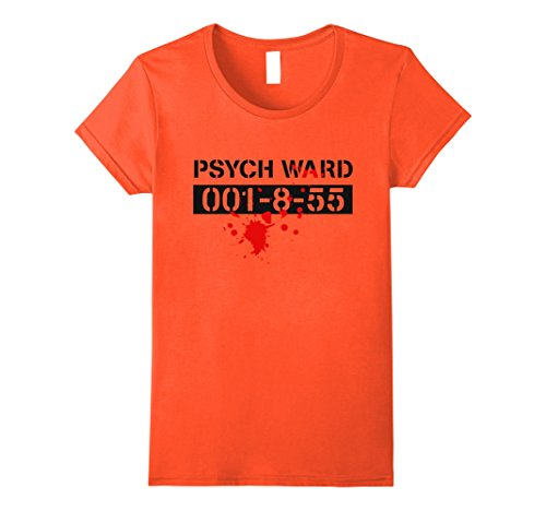 Womens Psych Ward Prisoner Patient Halloween Costume Funny T-Shirt XL Orange