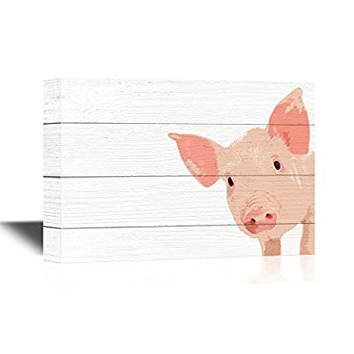 Pigs Canvas Wall Art - Little Pig on Wood Style Background - Gallery Wrap Modern Home Art | Ready to Hang - 12x18 inches