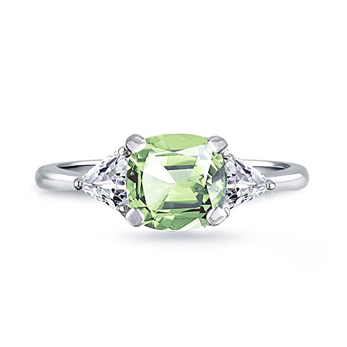 Stone Ring 3 Center Trillion (Samie Collection Rhodium Plated 1.74ctw Cushion CZ 3-Stone Engagement Rings in Birthstones)