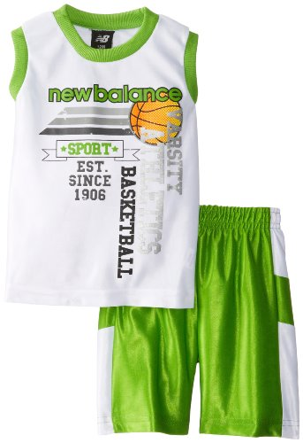 UPC 885381435975, New Balance Baby Boys' Dazzle Muscle T Shirt Sport Short Set, White/Lime, 18 Months
