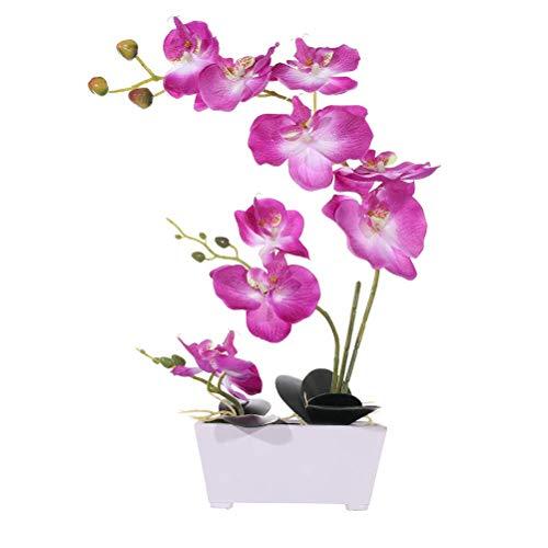 LingRenDu Artificial Plants & Flowers Butterfly Orchid Never Wither Silk Elegant Gentleman in Flower 11 Heads Environmental Protection Pulp Flowerpot Plastic Flower STEM 4 Color Bedroom (Purple)