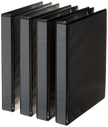 (AmazonBasics 3-Ring Binder, 1 Inch - 4-Pack (Black))