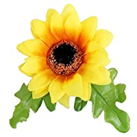 Patiky Wrist Flower, Wrist Corsage Hand Flowers Decor for Wedding Bridal Prom Party Accessories PS05 (Sunflower Brooch)