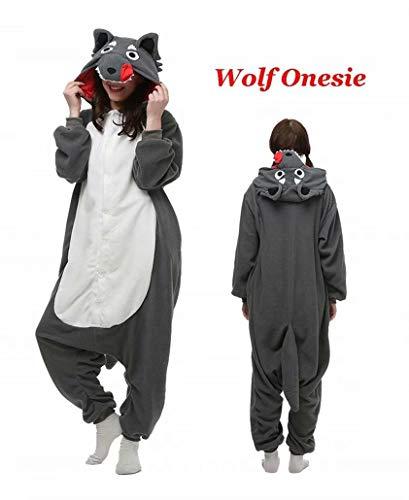 (Animal Onesies Pajamas for Women/Men Cosplay Adult Sleepwear Costume Cartoon Wolf)