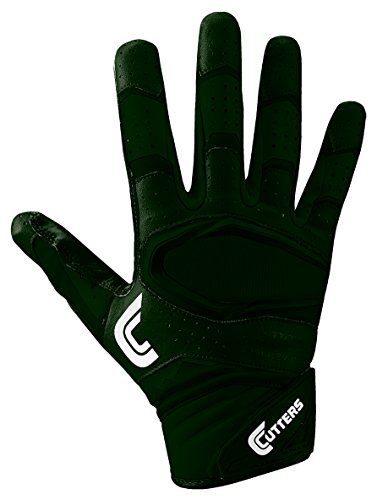 Cutters Gloves Rev Pro 2.0 Receiver Football Gloves, Solid Dark Green, X-Large by Cutters