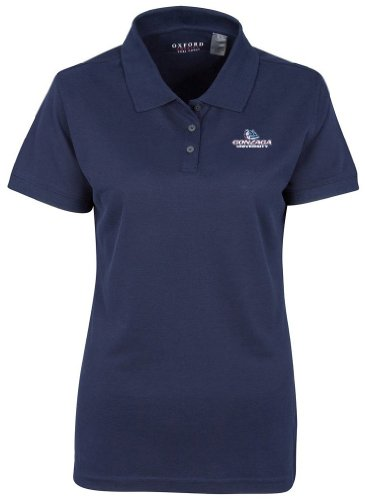 NCAA Gonzaga Bulldogs Women's Solid Pique Short Sleeve Polo, Classic Navy, X-Large (Classic Solid Pique Polo)