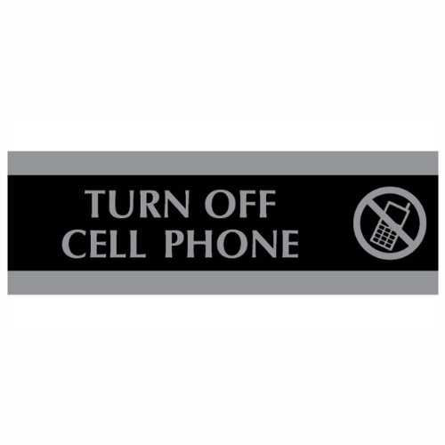 HeadLine Sign Century Series 3 x 9 Inch Turn Off Cell Phone Sign, Black and Silver (4759)